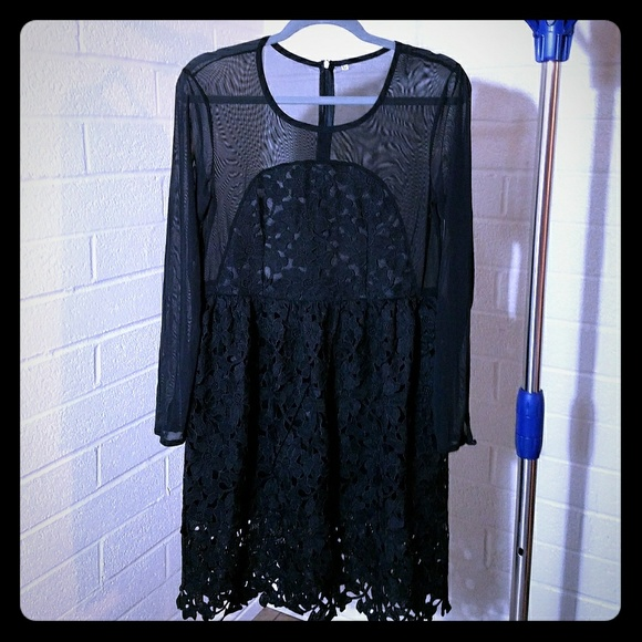 Shein Dresses Black Long Sleeve Embroidered Lace Flare Dress